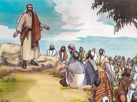 Jesus was on a mountain teaching His disciples. 'Be careful not to display your righteousness merely to be seen by people,' Jesus said. 'Otherwise you have no reward with your Father in heaven. – Slide 1