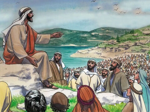 Jesus was on a mountain teaching His disciples. 'Therefore I tell you,' said Jesus,' do not worry about your life, what you will eat or drink, or about your body, what you will wear. – Slide 1