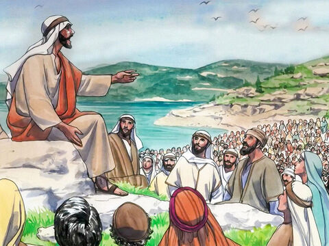Jesus was on a mountain teaching His disciples. – Slide 1