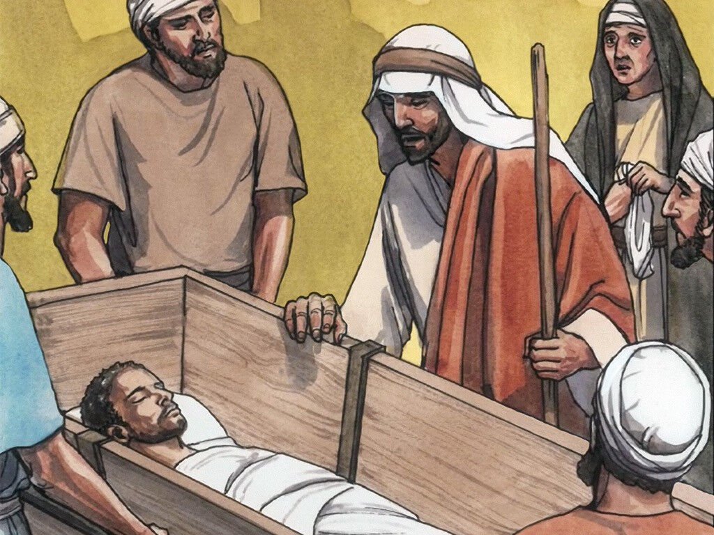 Image result for jesus touched the coffin