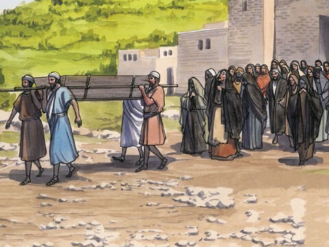 As He approached the town gate, a man who had died was being carried out, the only son of his mother (who was a widow), and a large crowd from the town was with her. – Slide 2