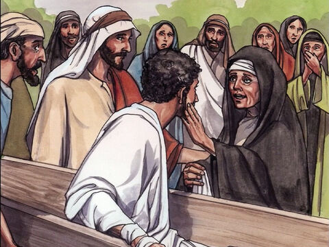 So the dead man sat up and began to speak, and Jesus gave him back to his mother. – Slide 5