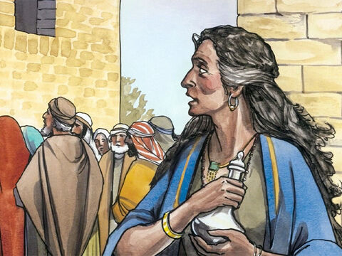 Then, when a woman of that town, who was a sinner, learned that Jesus was dining at the Pharisee's house, she brought an alabaster jar of perfumed oil. – Slide 2