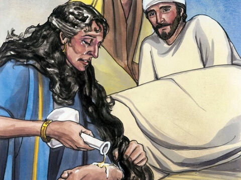 Then, turning toward the woman, Jesus said to Simon, 'Do you see this woman? I entered your house. You gave me no water for my feet, but she has wet my feet with her tears and wiped them with her hair. – Slide 8
