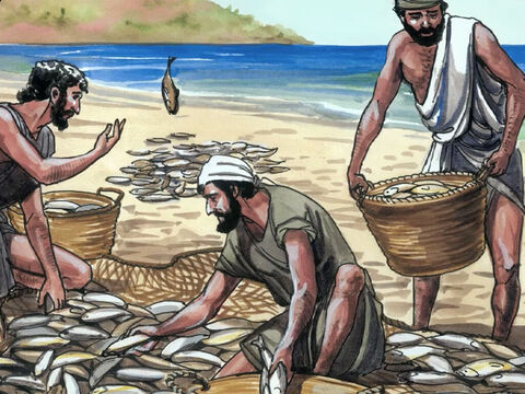 'Again, the kingdom of heaven is like a net that was cast into the sea that caught all kinds of fish. When it was full, they pulled it ashore, sat down, and put the good fish into containers and threw the bad away. – Slide 6