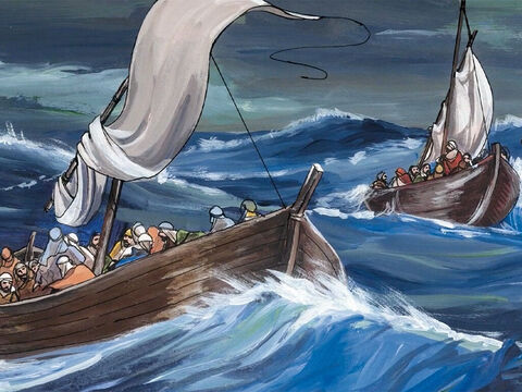 As He got into the boat, His disciples followed Him. And a great storm developed on the sea … – Slide 2