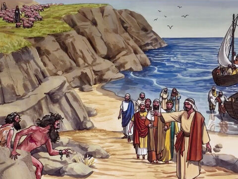 When Jesus came to the other side of Lake Galilee, to the region of the Gadarenes … – Slide 1