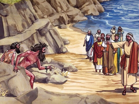 … two demon-possessed men coming from the tombs met Him. They were extremely violent, so no one went near them. – Slide 2