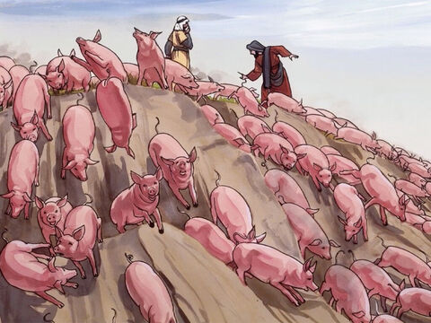 So the demons came out and went into the pigs... – Slide 7