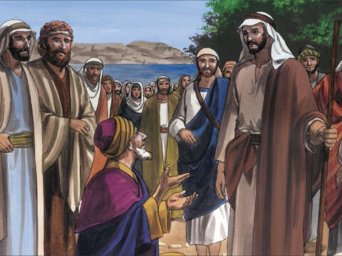 Now when Jesus returned from the other side of Galilee, the crowd who were waiting for Jesus welcomed Him. – Slide 1