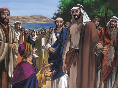 Then a man named Jairus, who was a ruler of the synagogue, came up. Falling at Jesus' feet, he pleaded with Him to come to his house, because he had an only daughter about twelve years old, and she was dying. – Slide 2