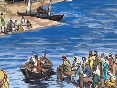 Jesus went and sat by the lake. And such a large crowd gathered around Him that He got into a boat to sit down … – Slide 1