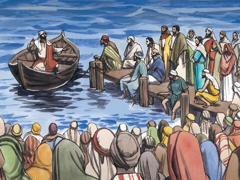 … while the whole crowd stood on the shore. He told them many things in parables, saying: – Slide 2