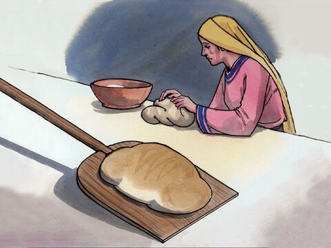 'The kingdom of heaven is like yeast that a woman took and mixed with three measures of flour until all the dough had risen.' – Slide 12