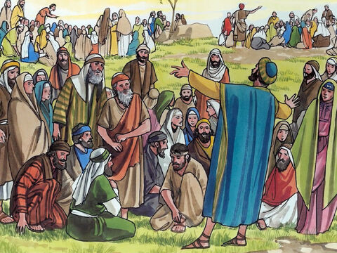 Jesus said, 'Have the people sit down.' (Now there was a lot of grass in that place.) So the men sat down, about five thousand in number. – Slide 6