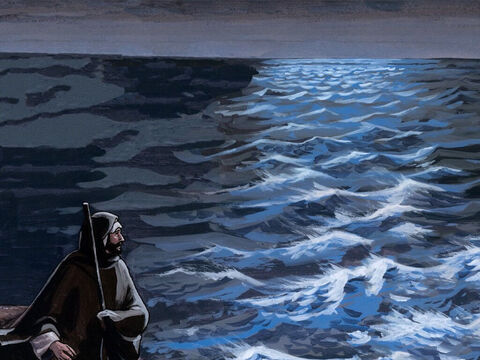 When evening came, He was there alone. Meanwhile the boat, already far from land, was taking a beating from the waves because the wind was against it. – Slide 3