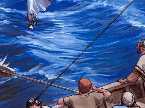 As the night was ending, Jesus came to them walking on the sea. When the disciples saw Him walking on the water they were terrified and said, 'It's a ghost!' and cried out with fear. – Slide 4