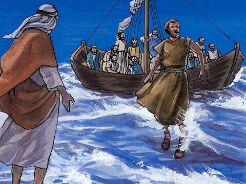 So He said, 'Come.' Peter got out of the boat, walked on the water, and came toward Jesus. – Slide 7