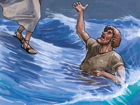 But when he saw the strong wind he became afraid. And starting to sink, he cried out, 'Lord, save me!' – Slide 8