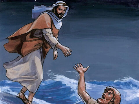 Immediately Jesus reached out His hand and caught him, saying to him, 'You of little faith, why did you doubt?' – Slide 9
