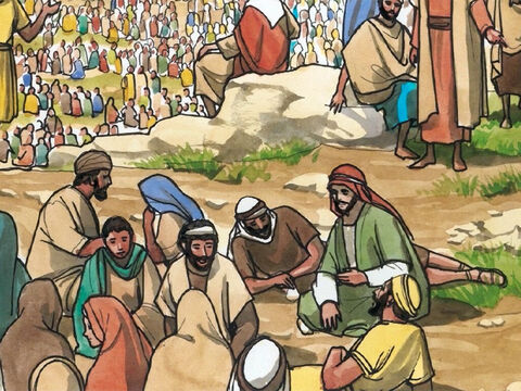 Jesus was in a region known as the Decapolis where many people who were not Jewish lived. The large crowd who had come to hear Jesus had nothing to eat. – Slide 1