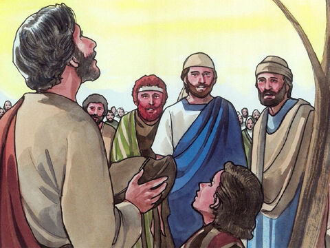 After He took the seven loaves and gave thanks, He broke them and began giving them to the disciples to serve. – Slide 6
