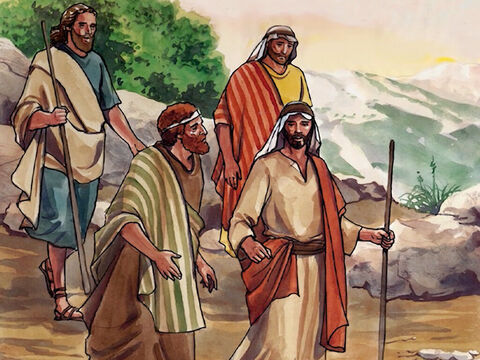 Jesus took Peter, John, and James, and went up the mountain to pray. – Slide 1