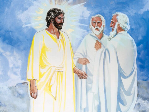As He was praying, the appearance of His face was transformed, and His clothes became very bright, a brilliant white. Then two men, Moses and Elijah, began talking with Him. They appeared in glorious splendor and spoke about His departure that He was about to carry out at Jerusalem. – Slide 2