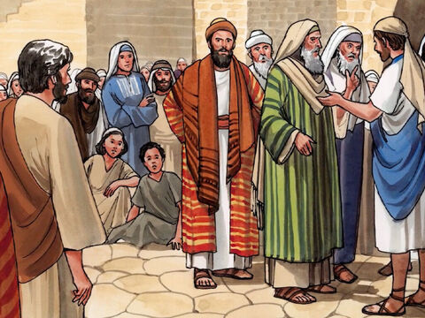 Now on the day after Jesus was transfigured, when they had come down from the mountain, a large crowd met Him. – Slide 1