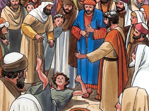 Bring your son here.' As the boy was approaching, the demon threw him to the ground and shook him with convulsions. – Slide 6