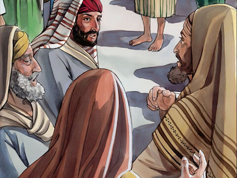 They brought the man who used to be blind to the Pharisees. (Now the day on which Jesus made the mud and caused him to see was a Sabbath.) So the Pharisees asked him again how he had gained his sight. – Slide 11