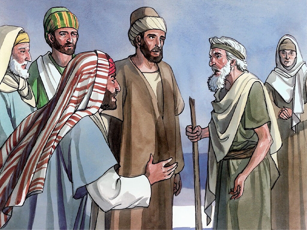 FreeBibleimages :: Pharisees question Jesus about blind man :: A blind man  healed by Jesus is thrown out by the religious leaders who do not believe  his story (John 9:18-41)