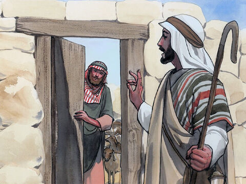 'The one who enters by the door is the shepherd of the sheep. The doorkeeper opens the door for him, and the sheep hear his voice. He calls his own sheep by name and leads them out. – Slide 2