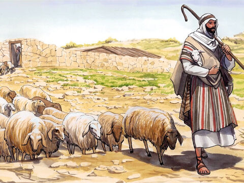 'When he has brought all his own sheep out, he goes ahead of them, and the sheep follow him because they recognise his voice. <br/>'They will never follow a stranger, but will run away from him, because they do not recognise the stranger's voice.' – Slide 3