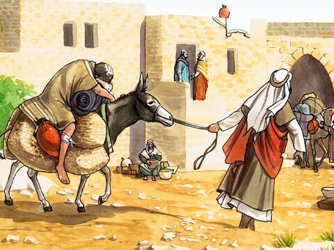 'Then he put him on his own animal, brought him to an inn, and took care of him. – Slide 13