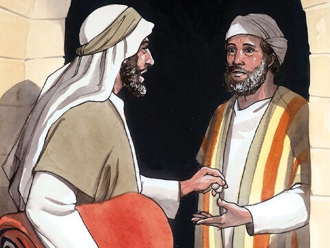 """'The next day he took out two silver coins and gave them to the innkeeper, saying, """"Take care of him, and whatever else you spend, I will repay you when I come back this way.""""' – Slide 14"""