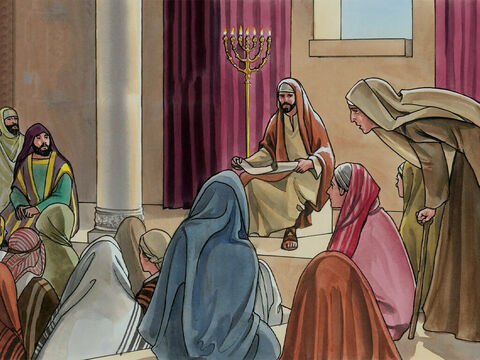 Now Jesus was teaching in one of the synagogues on the Sabbath, and a woman was there who had been disabled by a spirit for eighteen years. – Slide 1
