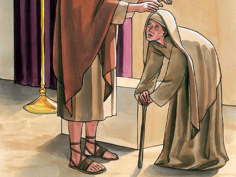 When Jesus saw her, He called her to Him and said, 'Woman, you are freed from your infirmity.' Then He placed His hands on her… – Slide 3