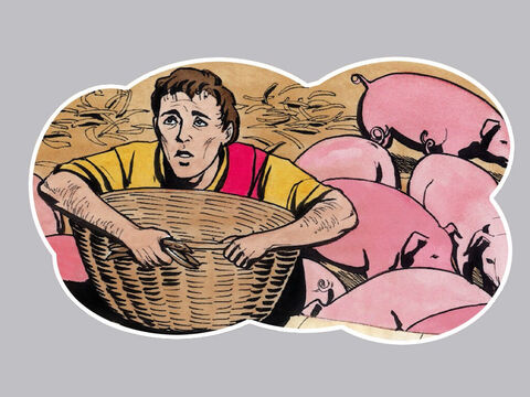 'He was longing to eat the carob pods the pigs were eating, but no one gave him anything. But when he came to his senses he said … – Slide 7