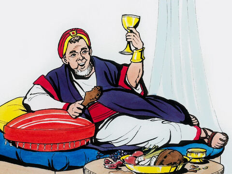 Jesus told this parable. There was a rich man who dressed in purple and fine linen and who feasted sumptuously every day. – Slide 1