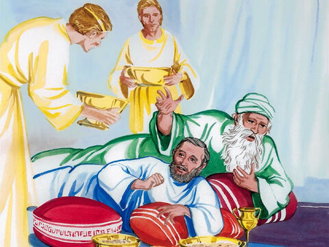 Now the poor man died and was carried by the angels to Abraham's side. The rich man also died and was buried. – Slide 3