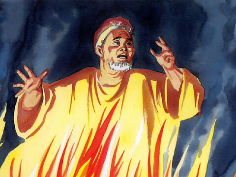 And in hell, as he was in torment, he looked up and saw Abraham far off with Lazarus at his side. So he called out, 'Father Abraham, have mercy on me, and send Lazarus to dip the tip of his finger in water and cool my tongue, because I am in anguish in this fire.' – Slide 4