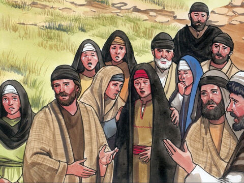 """Thus the people who had come to mourn said, 'Look how much he loved him!"""" But some of them said, 'This is the man who caused the blind man to see! Couldn't he have done something to keep Lazarus from dying?' – Slide 8"""