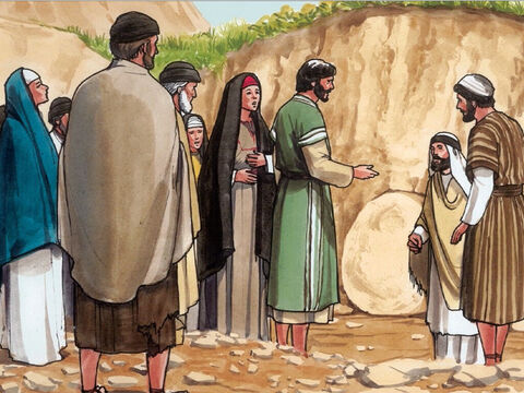 Jesus, intensely moved again, came to the tomb. (Now it was a cave, and a stone was placed across it.) Jesus said, 'Take away the stone.' Martha, the sister of the deceased, replied, 'Lord, by this time the body will have a bad smell, because he has been buried four days.'<br/>Jesus responded, 'Didn't I tell you that if you believe, you would see the glory of God?' – Slide 9