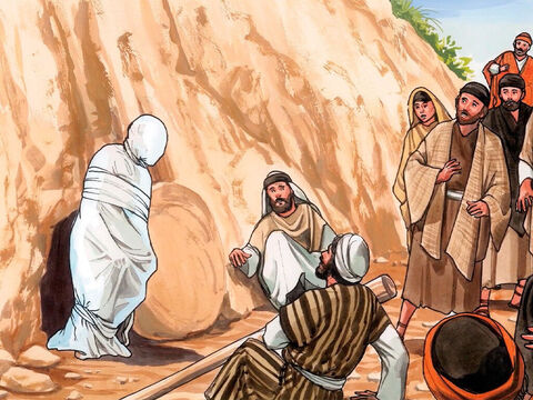 Lazarus came out, his feet and hands tied up with strips of cloth, and a cloth wrapped around his face. – Slide 12