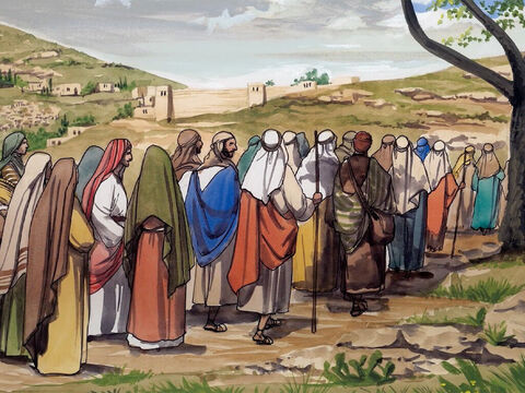 Now on the way to Jerusalem, Jesus was passing between Samaria and Galilee. As he was entering a village, ten men with leprosy met him. – Slide 1