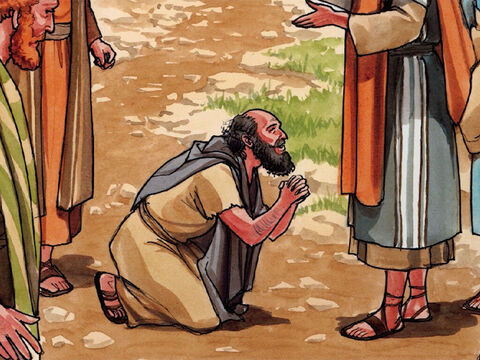 He fell with his face to the ground at Jesus' feet and thanked Him. (Now he was a Samaritan.) – Slide 4