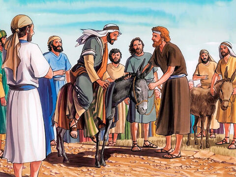 So the disciples went and did as Jesus had instructed them. They brought the donkey and the colt and placed their cloaks on them, and He sat on them. – Slide 5
