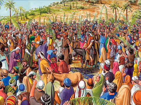 The crowds that went ahead of Him and those following kept shouting, 'Hosanna to the Son of David! Blessed is the one who comes in the name of the Lord! Hosanna in the highest!' – Slide 7