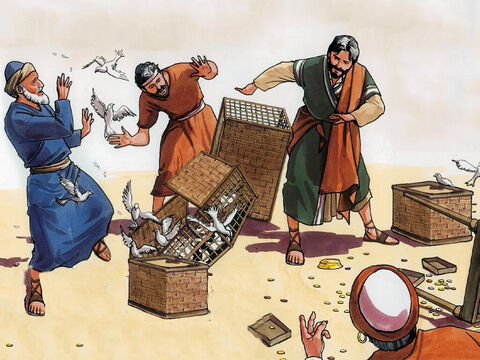 He turned over the tables of the money-changers and the chairs of those selling doves, and He would not permit anyone to carry merchandise through the temple courts. – Slide 4